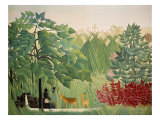 The Waterfall Giclée-tryk af Henri Rousseau