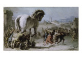Procession of the Trojan Horse into Troy Giclee Print by Giovanni Battista Tiepolo