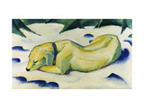 Dog Lying in the Snow Reproduction procédé giclée par Franz Marc