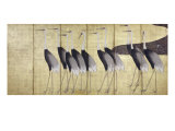 Cranes, Japanese Edo Screen Painting Reproduction procédé giclée par Ogata Korin