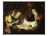 The Adoration Premium Giclee Print by Gerrit van Honthorst