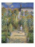 The Artist&#39;s Garden at Vetheuil Giclee Print by Claude Monet
