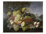 Still Life with Fruit in Landscape Premium Giclee Print by Severin Roesen