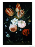 Tulips and Roses in a Glass Vase Giclee Print by Jan van Kessel