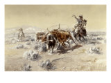 Roping the Longhorns Giclée-tryk af Charles Marion Russell