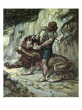 Samson Kills a Young Lion Giclee Print by James Tissot