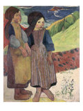 Two Breton Girls by the Sea Giclee Print by Paul Gauguin