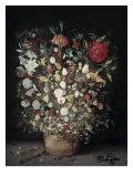 Flowers in a Wooden Vessel Giclee Print by Jan Brueghel the Elder