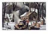 Maple Sugaring Giclee Print by  Currier & Ives
