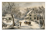 American Homestead Winter Giclee Print by Currier &amp; Ives 