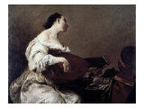 Woman Playing a Lute Giclée-tryk af Giuseppe Maria Crespi