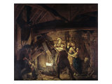 Iron Forge Giclee Print by Joseph Wright of Derby