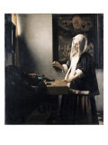 Woman Weighing Gold Reproduction procédé giclée par Jan Vermeer