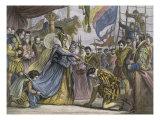 Queen Elizabeth Knighting Sir Francis Drake Aboard Giclee Print
