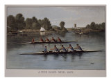 A Four-Oared Shell Race Giclee Print by  Currier & Ives