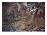 Aboriginal Wall Painting by the Tjapukai People Reproduction procédé giclée