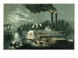 Wooding-up on the Mississippi Giclee Print by Currier &amp; Ives 