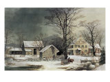 Winter in the Country: Wood for the Inn Reproduction procédé giclée par Currier & Ives