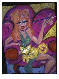 Red Head with Cat Giclee Print by Gina Bernardini