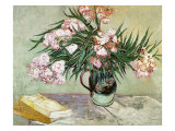 Vase with Oleanders and Books, c.1888 Premium Giclee Print by Vincent van Gogh