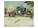 Caravans Encampment of Gypsies Giclee Print by Vincent van Gogh