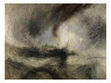 Snestorm, dampbåd ved en havnemunding Giclée-tryk af William Turner