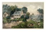 American Homestead Summer Giclee Print by Currier &amp; Ives 