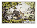 Adam Naming the Creatures Giclee Print by Currier &amp; Ives 