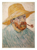 Self-Portrait with Pipe and Straw Hat, c.1888 Premium Giclee Print by Vincent van Gogh