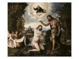 Kristi dåb Giclée-tryk af Paris Bordone
