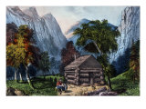 The Pioneer Cabin of the Yo-Semite Valley Premium Giclee Print by  Currier & Ives