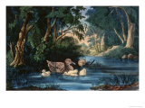 The Pond in the Woods Giclee Print by  Currier & Ives