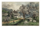 American Homestead Spring Giclee Print by Currier &amp; Ives 