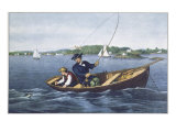 Bass Fishing Giclee Print by  Currier & Ives