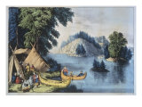 Indian Encampment on the St. Lawrence Premium Giclee Print by  Currier & Ives