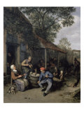 Peasants Smoking and Feasting Outside a Tavern Giclee Print by Adrien Van Ostade