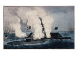 Terrific Combat Between the Monitor 2 Guns and Merrimac Ten Guns Giclee Print by  Currier & Ives