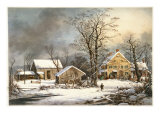 Winter in the Country a Cold Morning Reproduction procédé giclée par Currier & Ives