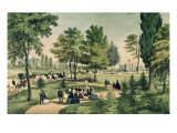 Central Park: The Drive Giclee Print by  Currier & Ives