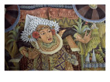 Folk Painting of Male Dancer, Bali, Indonesia Giclee Print