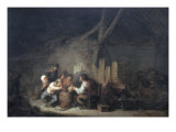Peasants Drinking and Smoking in an Interior Giclee Print by Adrien Van Ostade
