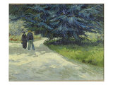 Public Garden with Couple and Blue Fir Tree Giclee Print by Vincent van Gogh