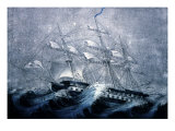 A Squall Off Cape Horn Premium Giclee Print by  Currier & Ives