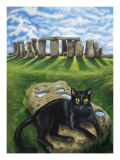 European Cat at Stonehenge/Great Britain Giclee Print by Isy Ochoa