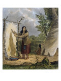 Indian Woman Dressing a Buffalo Skin Giclee Print by Seth Eastman
