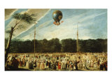 Ascension of the Balloon Montgolfier to Madrid Giclee Print by Antonio Carnicero