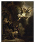 Archangel Raphael Leaving the Family of Tobias Giclee Print by Rembrandt van Rijn
