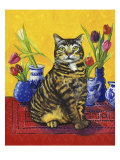 Cat and Tulips II (Chat Tulipes II) Giclee Print by Isy Ochoa