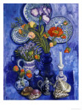 Blue Still Life with Poppies and Shells Giclee Print by Isy Ochoa