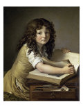 A Young Child Looking at Figures in a Book Giclee Print by Anne-Louis Girodet de Roussy-Trioson